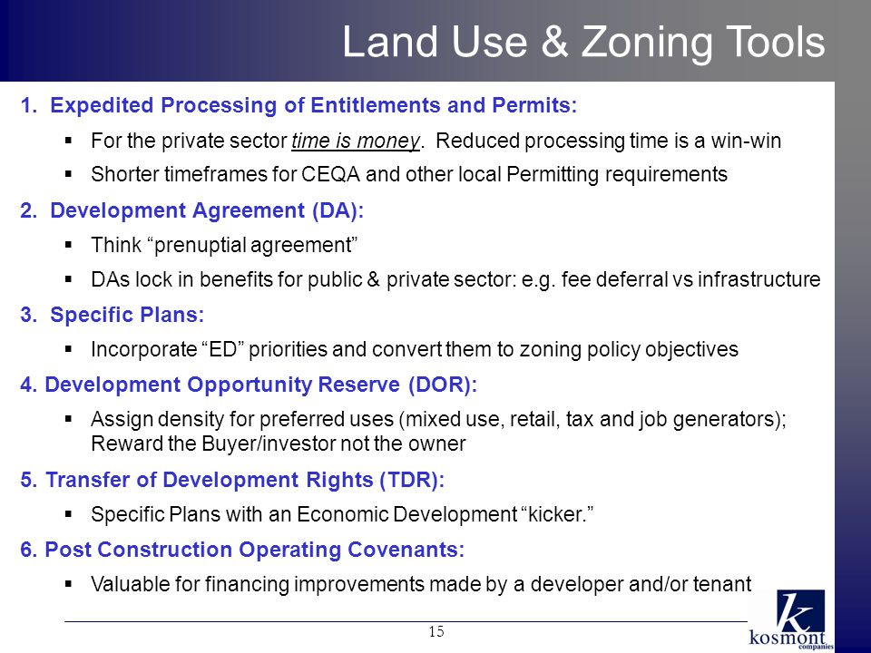 15 Land Use & Zoning Tools 1.
