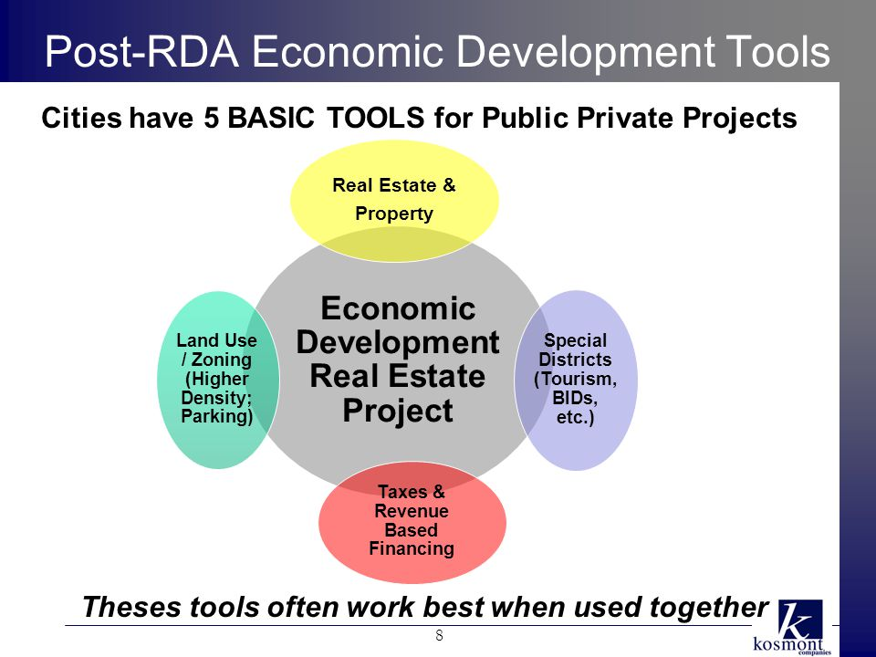 Post-RDA Economic Development Tools Economic Development Real Estate Project Real Estate & Property Special Districts (Tourism, BIDs, etc.) Taxes & Revenue Based Financing Land Use / Zoning (Higher Density; Parking) Cities have 5 BASIC TOOLS for Public Private Projects Theses tools often work best when used together 8