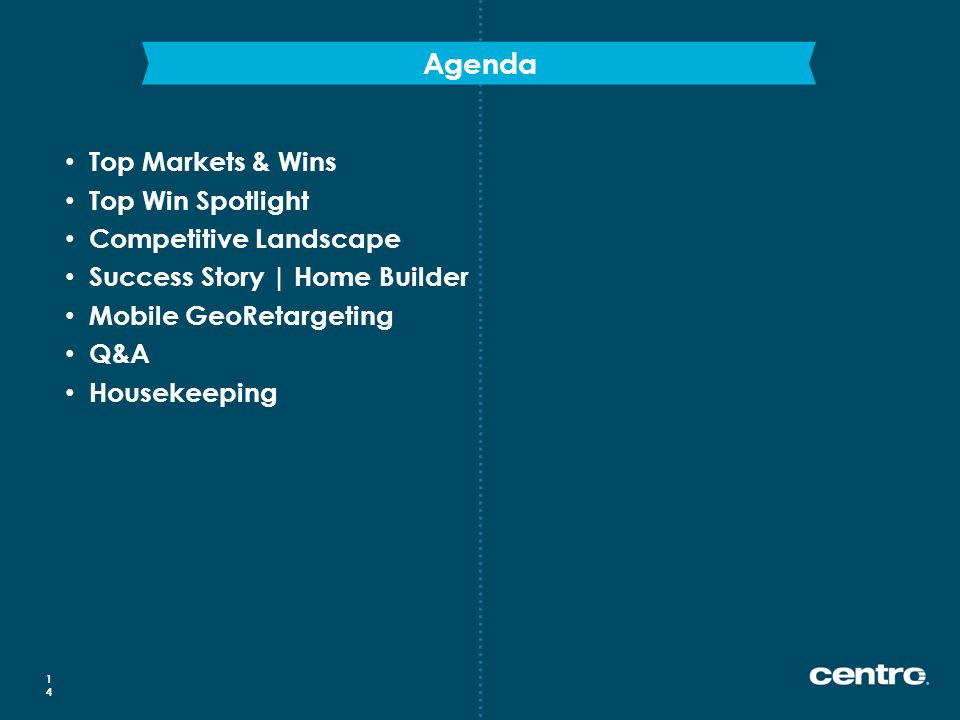 Agenda 14 Top Markets & Wins Top Win Spotlight Competitive Landscape Success Story | Home Builder Mobile GeoRetargeting Q&A Housekeeping