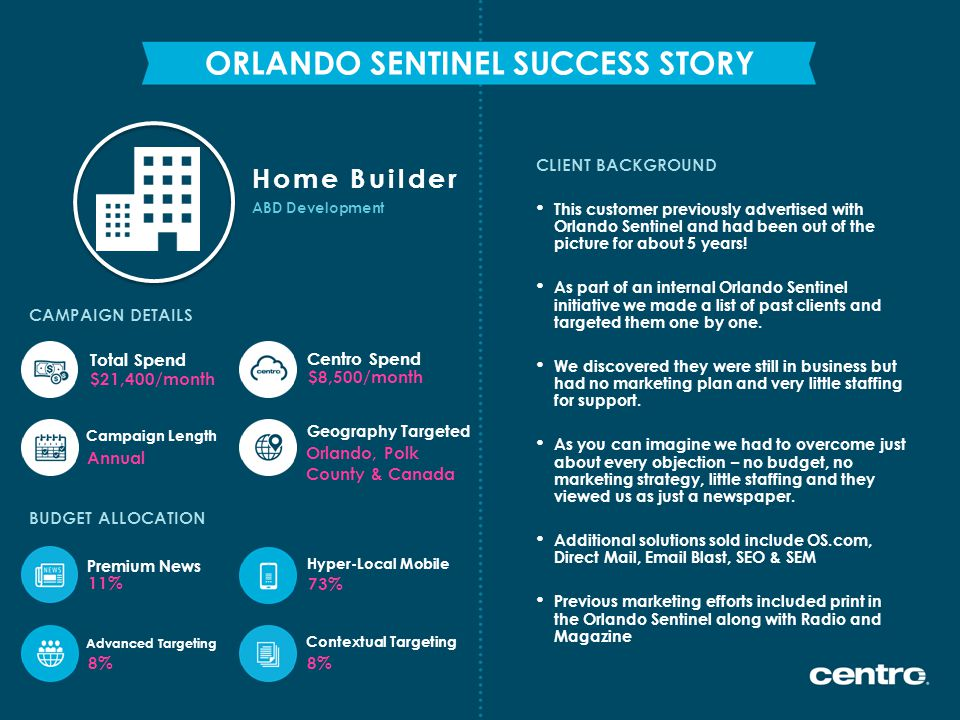 ABD Development Home Builder CLIENT BACKGROUND ORLANDO SENTINEL SUCCESS STORY CAMPAIGN DETAILS This customer previously advertised with Orlando Sentin