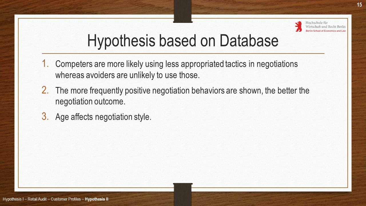 Hypothesis based on Database 1.