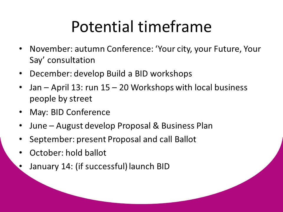 Potential timeframe November: autumn Conference: 'Your city, your Future, Your Say' consultation December: develop Build a BID workshops Jan – April 13: run 15 – 20 Workshops with local business people by street May: BID Conference June – August develop Proposal & Business Plan September: present Proposal and call Ballot October: hold ballot January 14: (if successful) launch BID