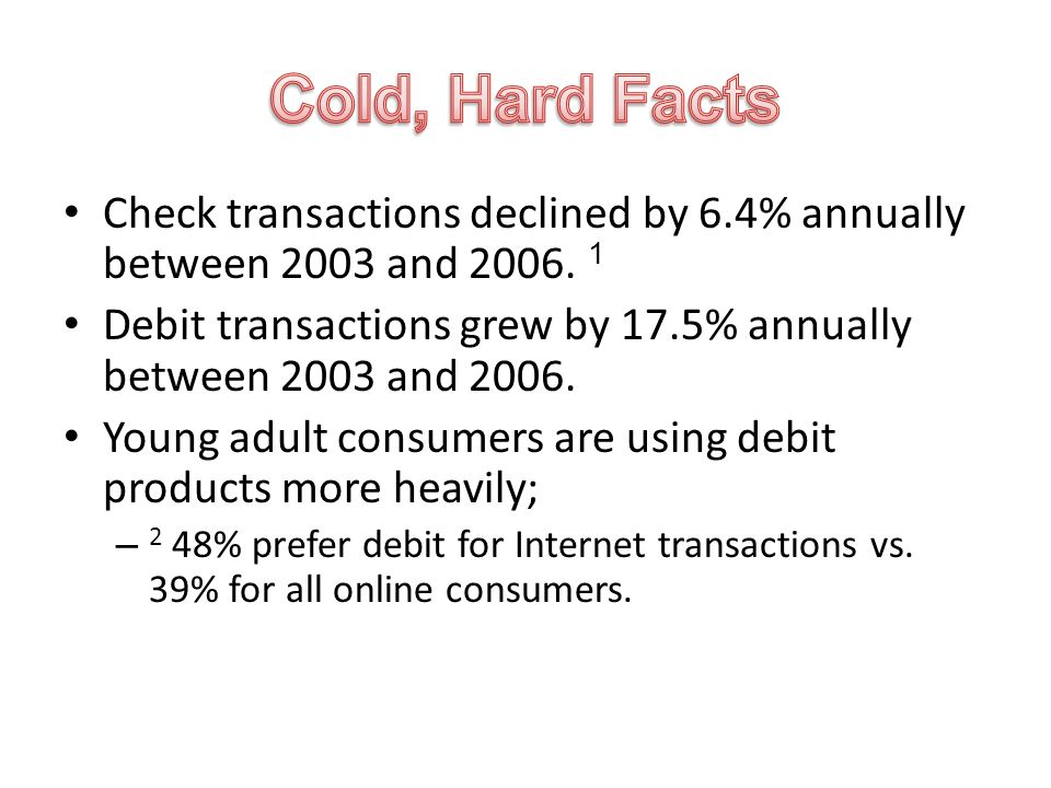 Check transactions declined by 6.4% annually between 2003 and 2006.