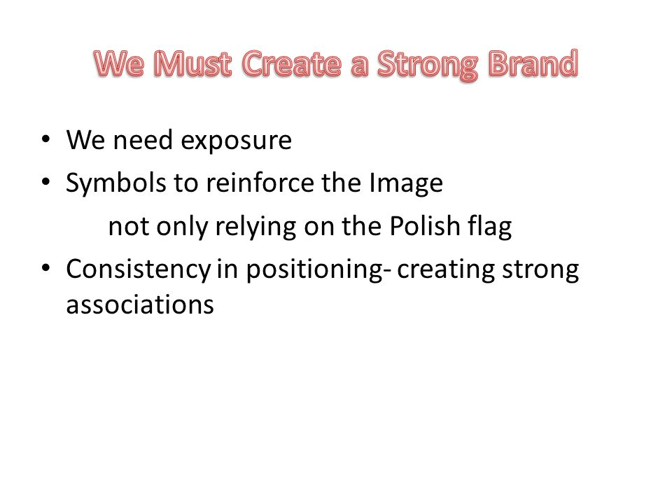 We need exposure Symbols to reinforce the Image not only relying on the Polish flag Consistency in positioning- creating strong associations