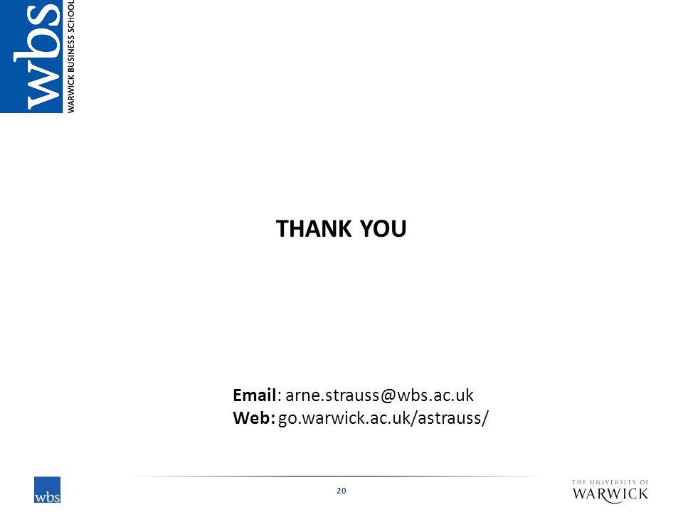 20 THANK YOU Email: arne.strauss@wbs.ac.uk Web: go.warwick.ac.uk/astrauss/