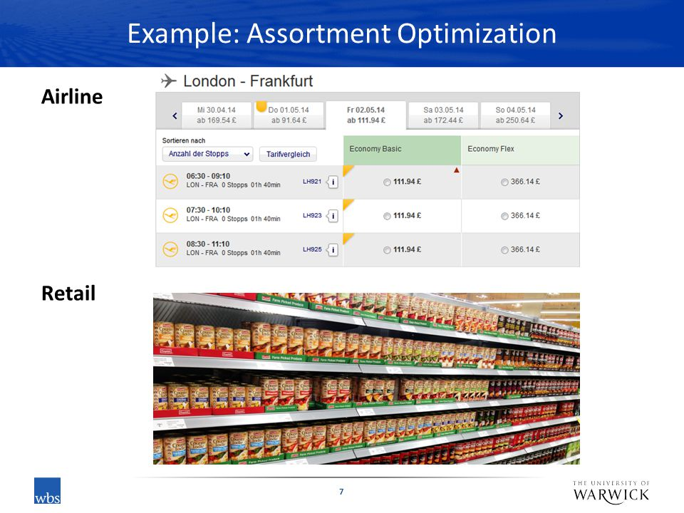Example: Assortment Optimization Airline Retail 7