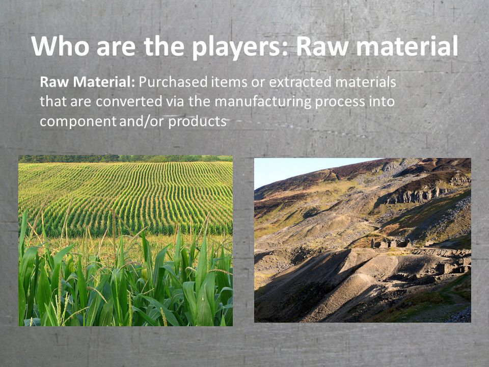 Who are the players: Raw material Raw Material: Purchased items or extracted materials that are converted via the manufacturing process into component and/or products
