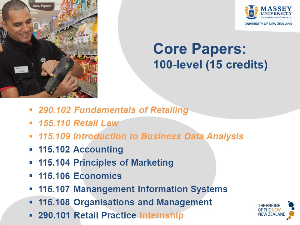  290.102 Fundamentals of Retailing  155.110 Retail Law  115.109 Introduction to Business Data Analysis  115.102 Accounting  115.104 Principles of