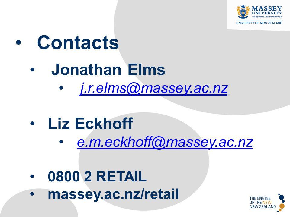 Contacts Jonathan Elms j.r.elms@massey.ac.nz Liz Eckhoff e.m.eckhoff@massey.ac.nz 0800 2 RETAIL massey.ac.nz/retail