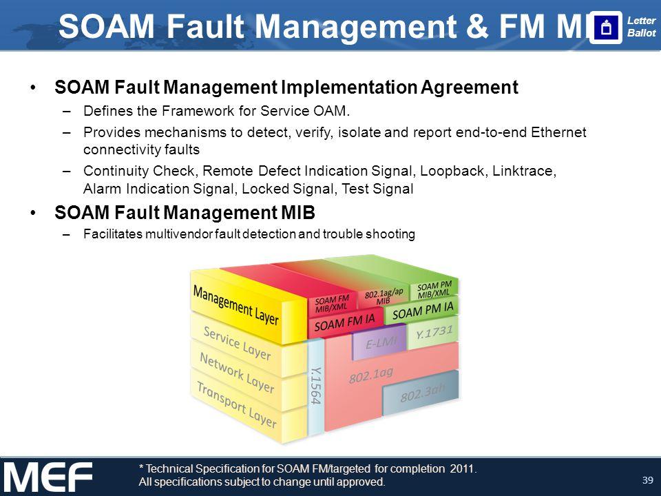 39 SOAM Fault Management & FM MIB SOAM Fault Management Implementation Agreement –Defines the Framework for Service OAM. –Provides mechanisms to detec