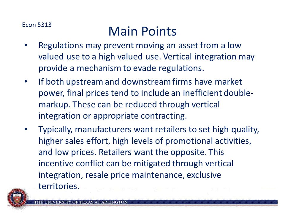 Main Points Regulations may prevent moving an asset from a low valued use to a high valued use.