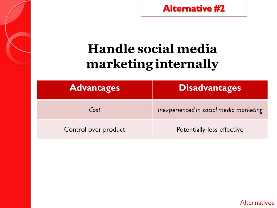 Handle social media marketing internally AdvantagesDisadvantages CostInexperienced in social media marketing Control over productPotentially less effe