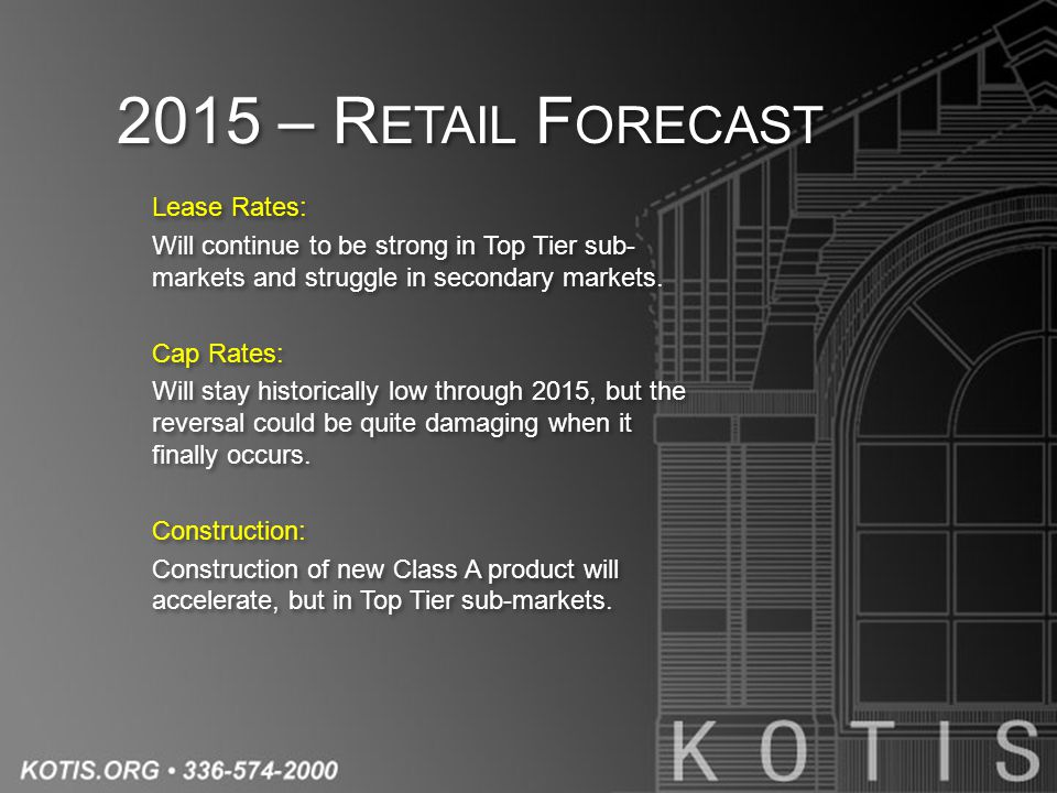 2015 – R ETAIL F ORECAST Lease Rates: Will continue to be strong in Top Tier sub- markets and struggle in secondary markets.