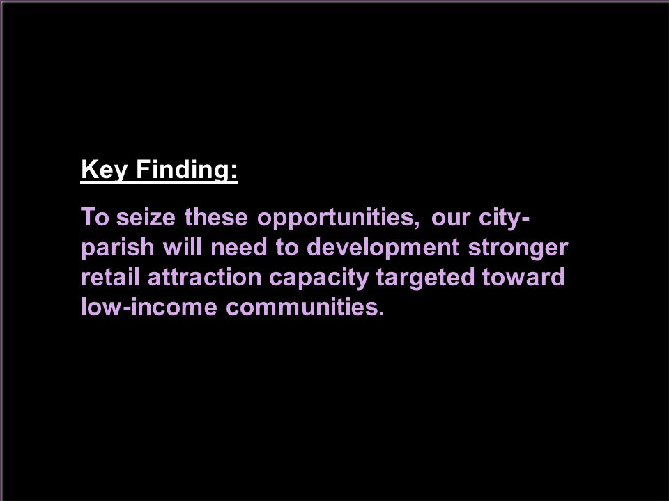 Key Finding: To seize these opportunities, our city- parish will need to development stronger retail attraction capacity targeted toward low-income communities.