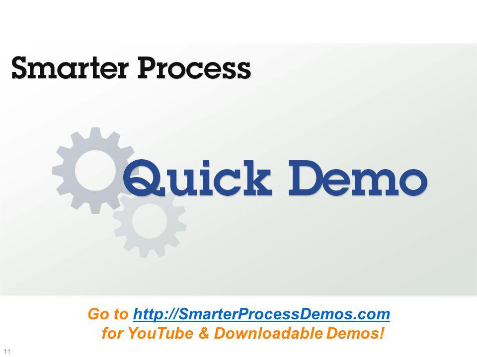 11 Go to http://SmarterProcessDemos.com for YouTube & Downloadable Demos!http://SmarterProcessDemos.com