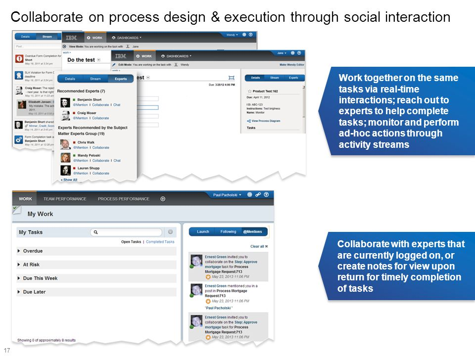 17 Collaborate on process design & execution through social interaction Work together on the same tasks via real-time interactions; reach out to exper