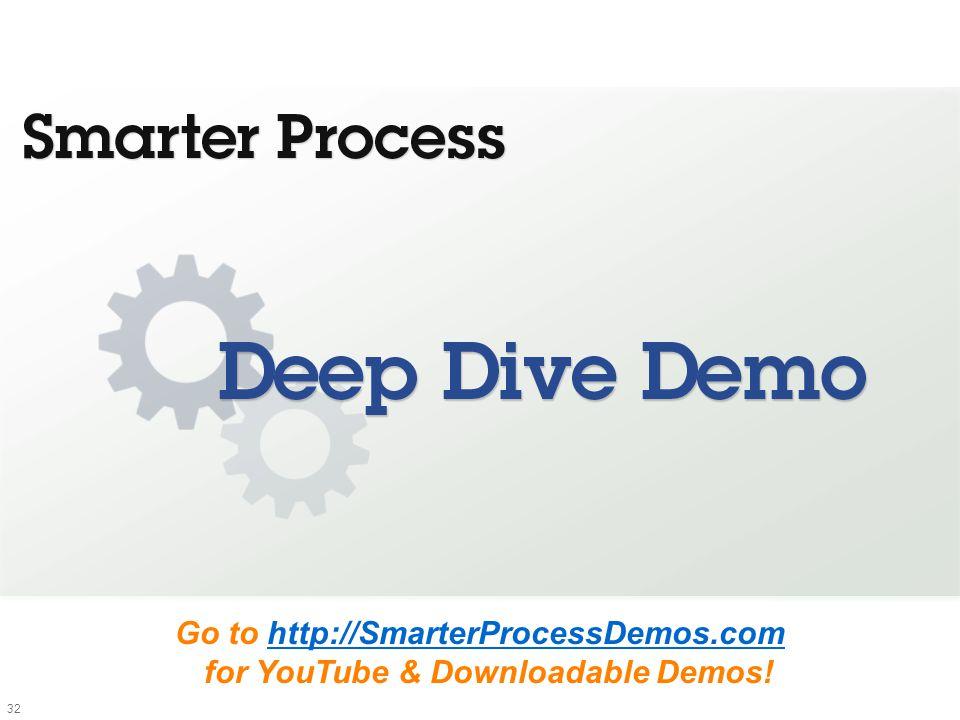 32 Go to http://SmarterProcessDemos.com for YouTube & Downloadable Demos!http://SmarterProcessDemos.com
