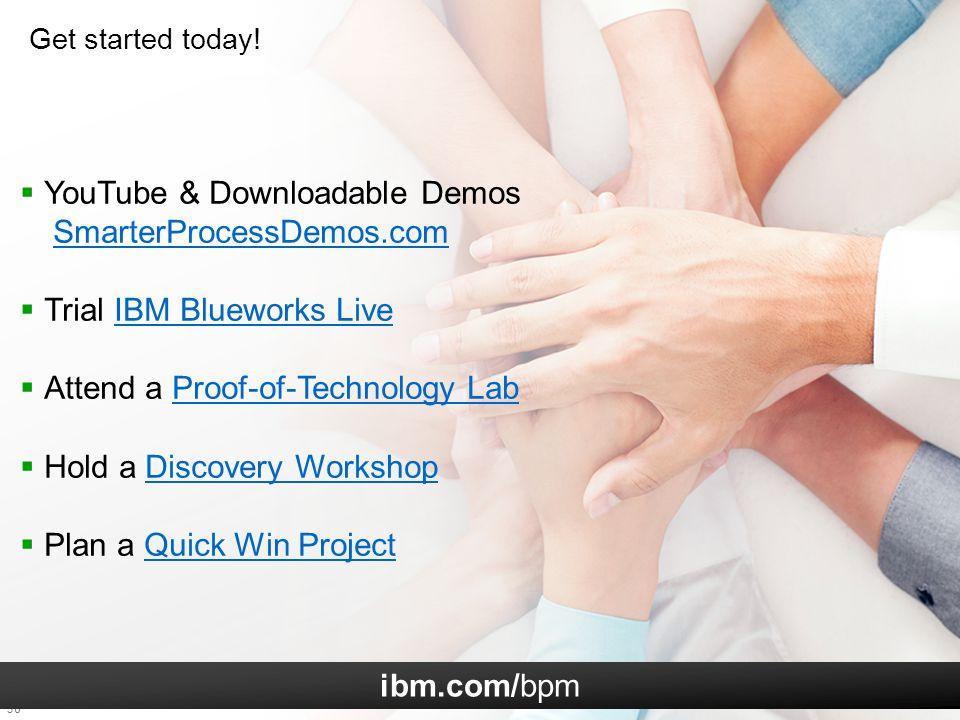 36  YouTube & Downloadable Demos SmarterProcessDemos.comSmarterProcessDemos.com  Trial IBM Blueworks LiveIBM Blueworks Live  Attend a Proof-of-Tech