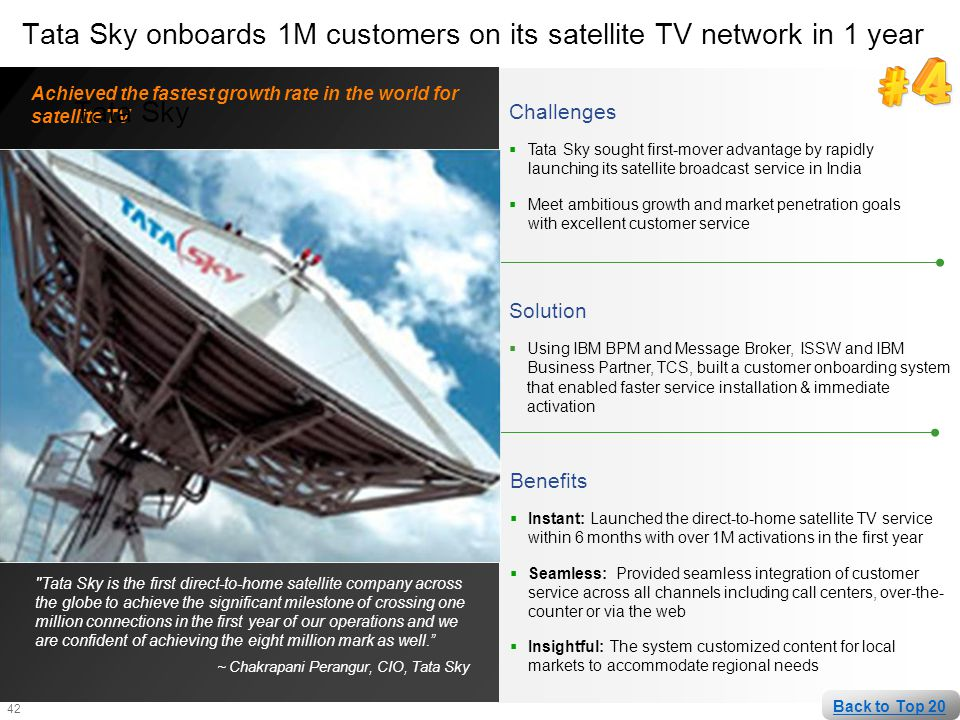 42 Challenges  Tata Sky sought first-mover advantage by rapidly launching its satellite broadcast service in India  Meet ambitious growth and market