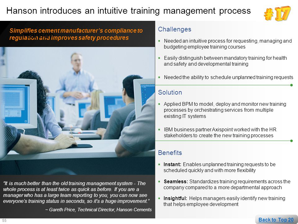 55 Hanson introduces an intuitive training management process Challenges  Needed an intuitive process for requesting, managing and budgeting employee