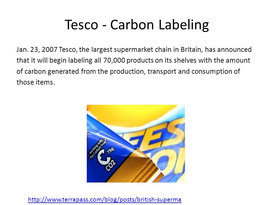Tesco - Carbon Labeling Jan.