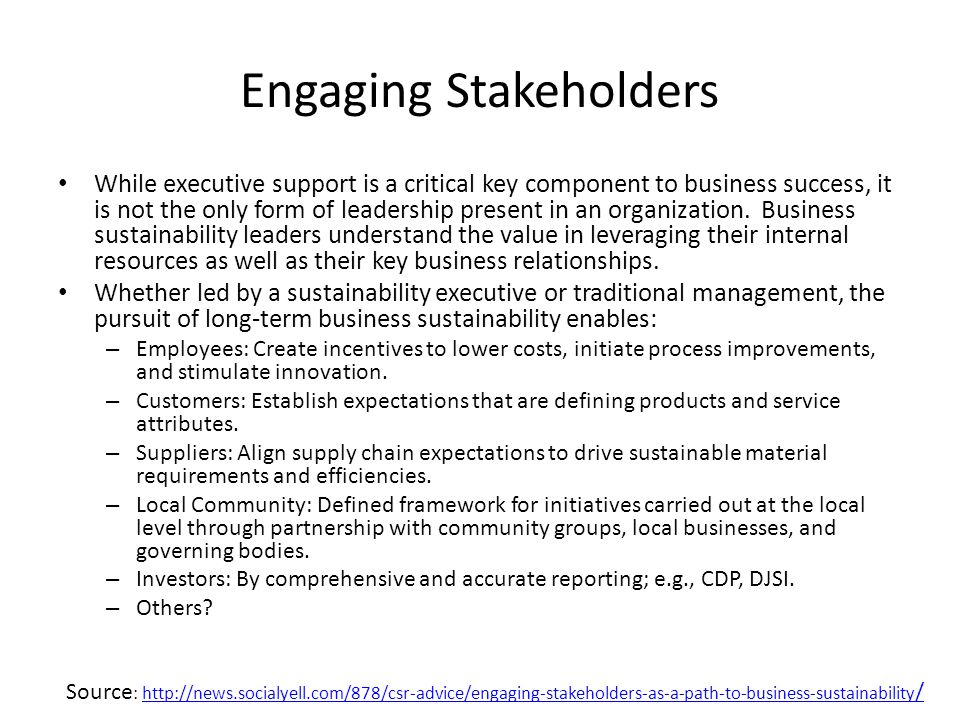 Engaging Stakeholders While executive support is a critical key component to business success, it is not the only form of leadership present in an organization.