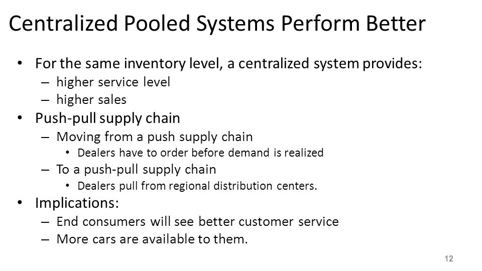 Centralized Pooled Systems Perform Better For the same inventory level, a centralized system provides: – higher service level – higher sales Push-pull