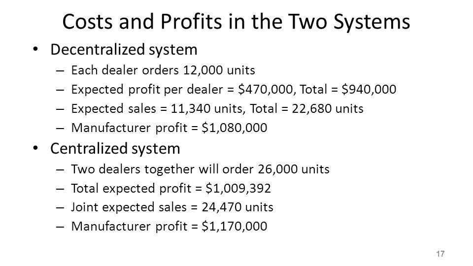 Customer Search If the customer arrives at a dealer and does not find the item – Switches to another dealer – Helps the manufacturer sell more products Which system is better under customer search.
