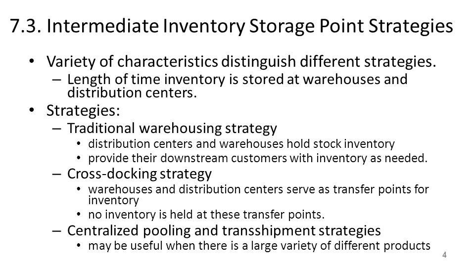 7.3. Intermediate Inventory Storage Point Strategies Variety of characteristics distinguish different strategies. – Length of time inventory is stored