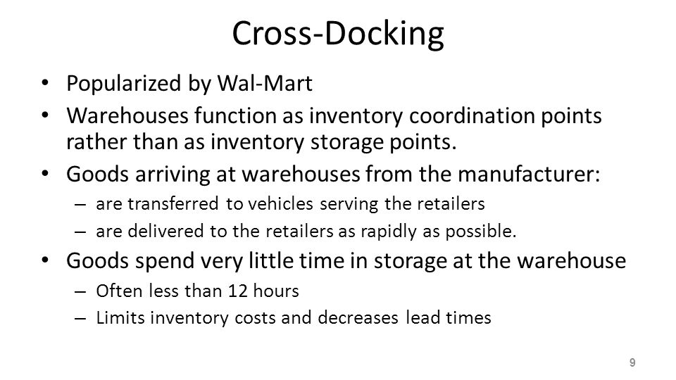 Issues with Cross-Docking Require a significant start-up investment and are very difficult to manage Supply chain partners must be linked with advanced information systems for coordination A fast and responsive transportation system is necessary Forecasts are critical, necessitating the sharing of information.
