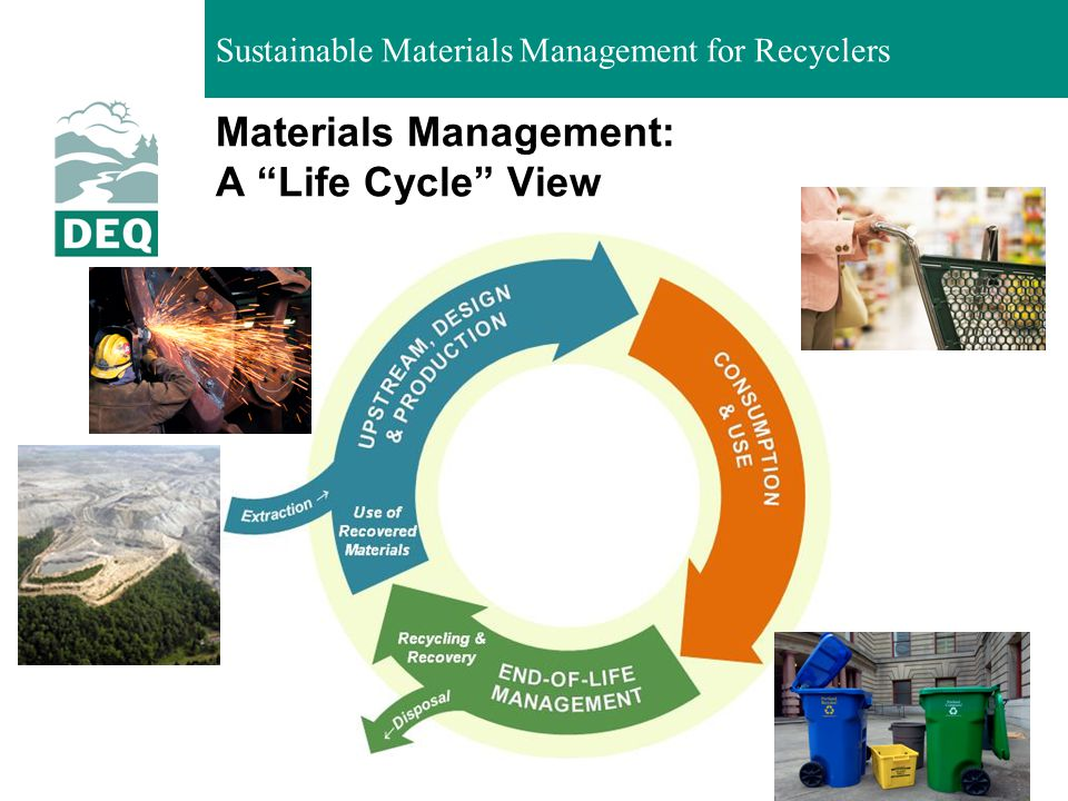 Sustainable Materials Management for Recyclers Discards management and materials management compared Discards ManagementMaterials Management GoalManaging discardsSustainability LifecyclePrimarily downstreamAll stages Environmental scope Emissions from waste facilities; resource conservation from recovery All pollutants, resources PartnersWaste generators, waste industry, users of recovered material Everyone involved in the life cycle of materials 5