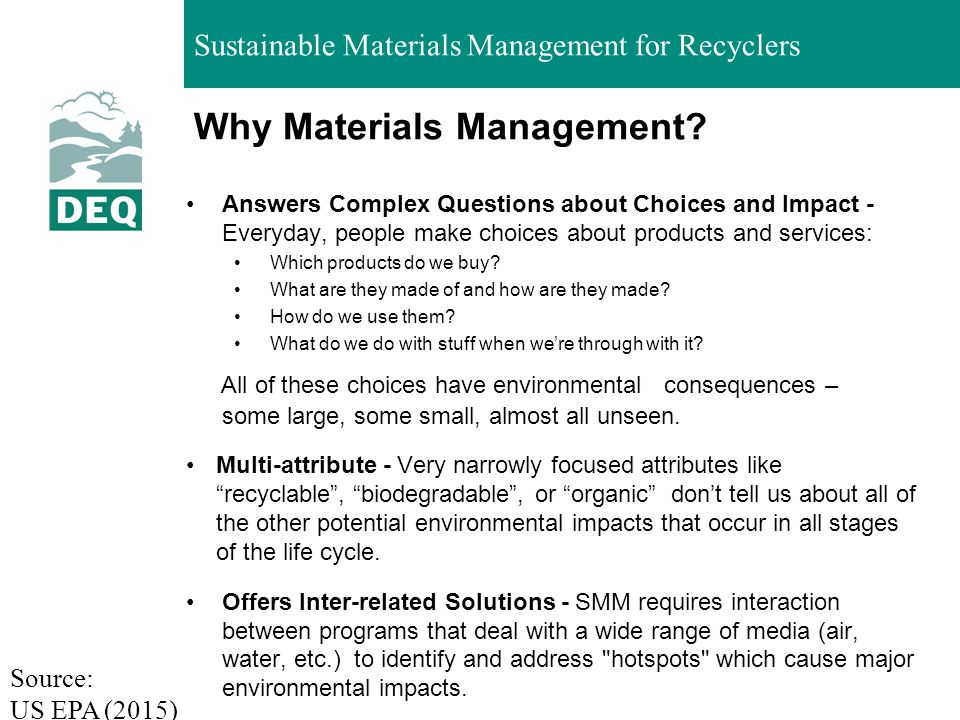 Sustainable Materials Management for Recyclers