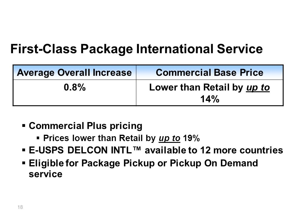 18 First-Class Package International Service Average Overall IncreaseCommercial Base Price 0.8%Lower than Retail by up to 14%  Commercial Plus pricing  Prices lower than Retail by up to 19%  E-USPS DELCON INTL™ available to 12 more countries  Eligible for Package Pickup or Pickup On Demand service