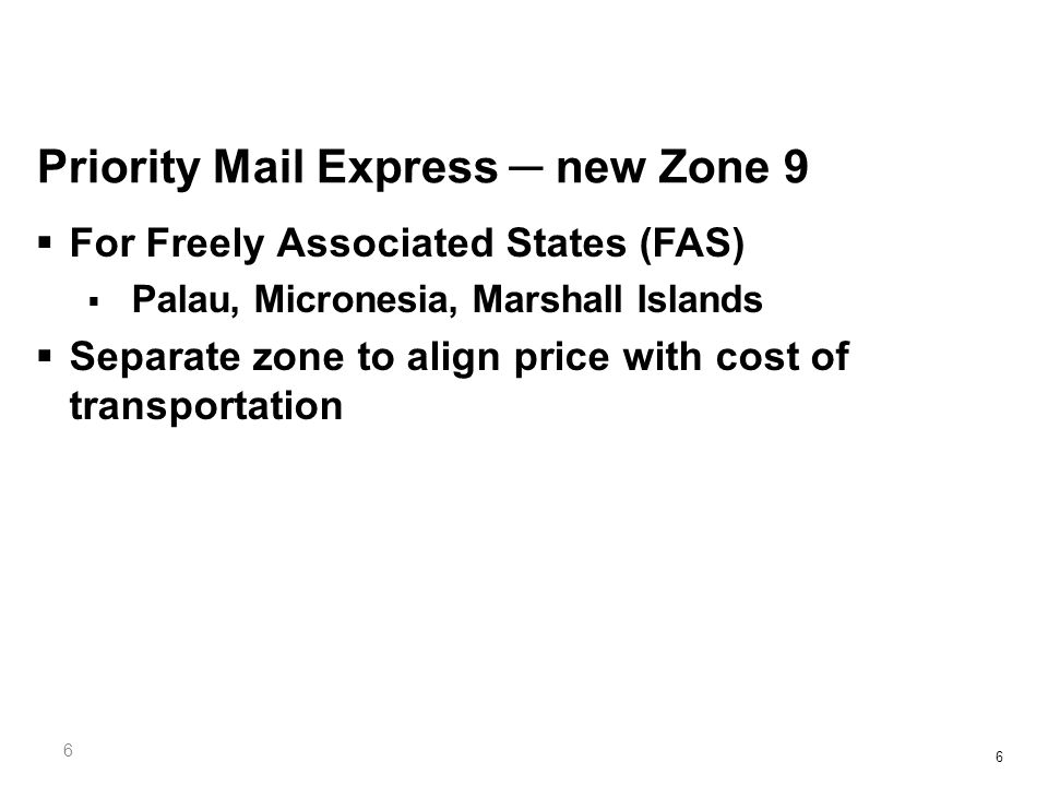 17 Priority Mail International Average Overall IncreaseCommercial Base Price 1.1%Lower than Retail by up to 13%  Flat Rate Envelope and Small Flat Rate Box Canada $20.55/ rest of world $24.75  Medium Flat Rate Box Canada $42.25/ rest of world $61.75  Large Flat Rate Box Canada $55.75/ rest of world $80.50  Commercial Plus pricing -- Prices lower than Retail by up to 19%  E-USPS DELCON INTL available to 12 more countries  GEPS agreements