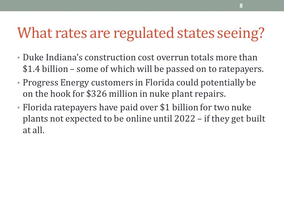 What rates are regulated states seeing.