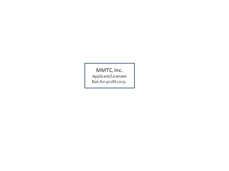 MMTC, Inc. Applicant/Licensee Not-for profit corp.