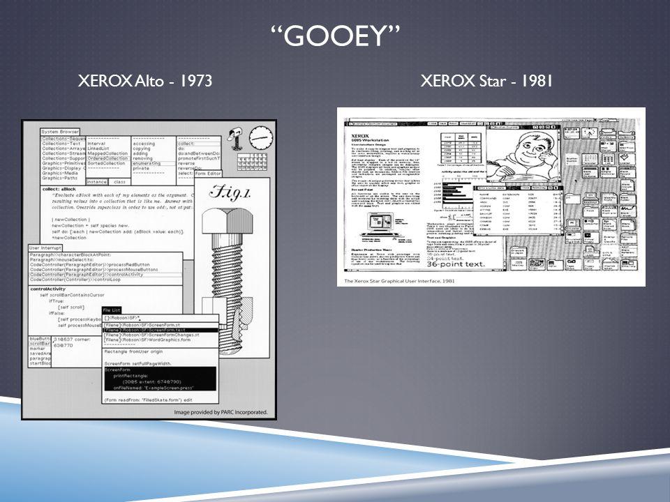 """GOOEY"" XEROX Alto - 1973XEROX Star - 1981"