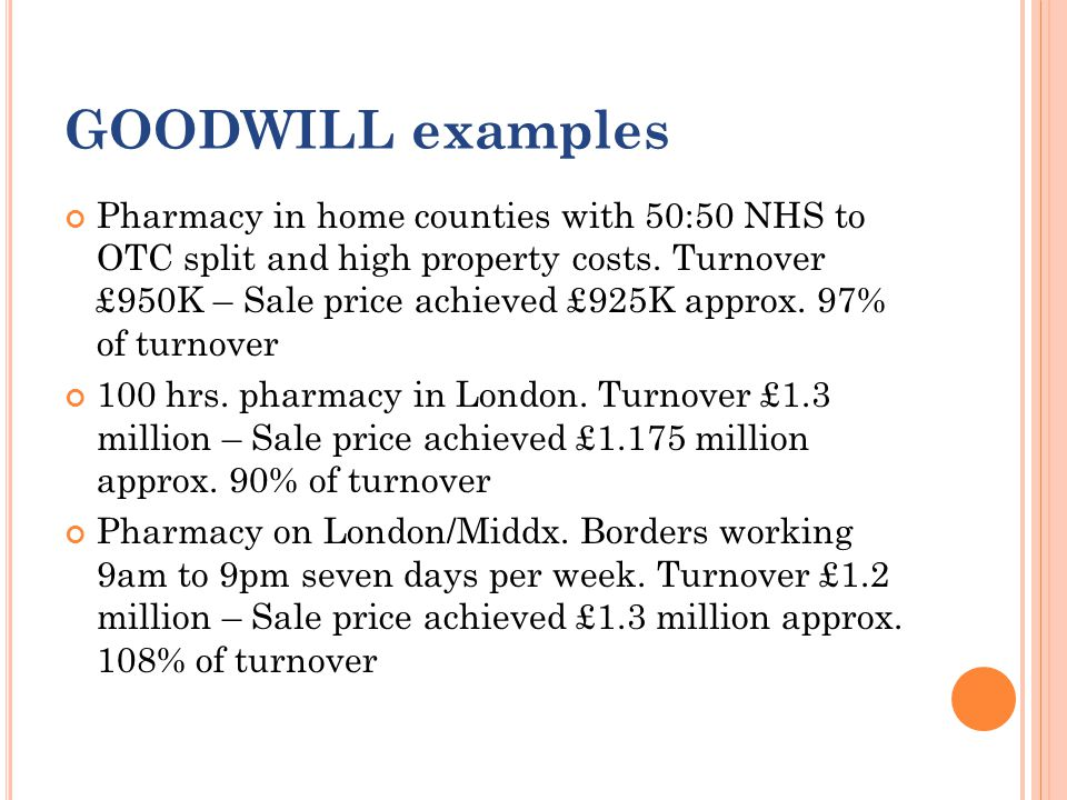 GOODWILL examples Pharmacy in home counties with 50:50 NHS to OTC split and high property costs.