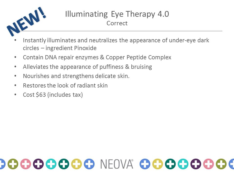 Illuminating Eye Therapy 4.0 Correct Instantly illuminates and neutralizes the appearance of under-eye dark circles – ingredient Pinoxide Contain DNA repair enzymes & Copper Peptide Complex Alleviates the appearance of puffiness & bruising Nourishes and strengthens delicate skin.
