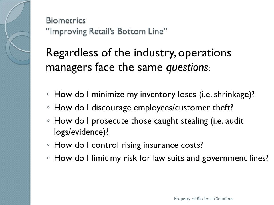 Biometrics Improving Retail's Bottom Line OSHA's Top Ten Safety Violations in 2010 …Can you pass an OSHA inspection.