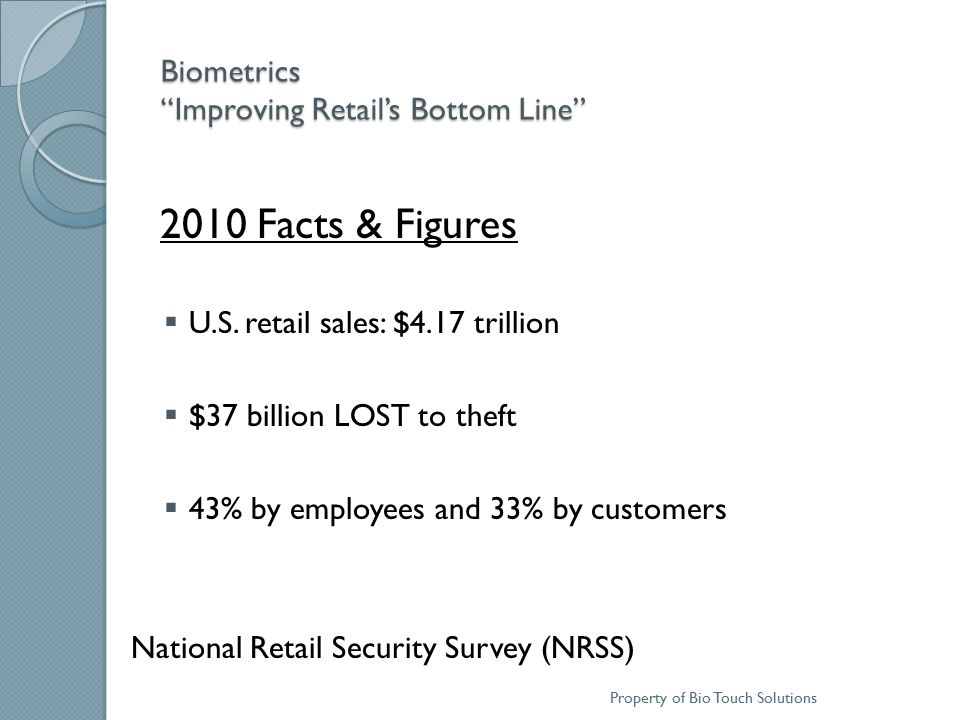 Biometrics Improving Retail's Bottom Line Facts & Figures In 2010 OSHA issued over 94,000 safety-related citations for violations resulting in MILLIONS of dollars of fines.