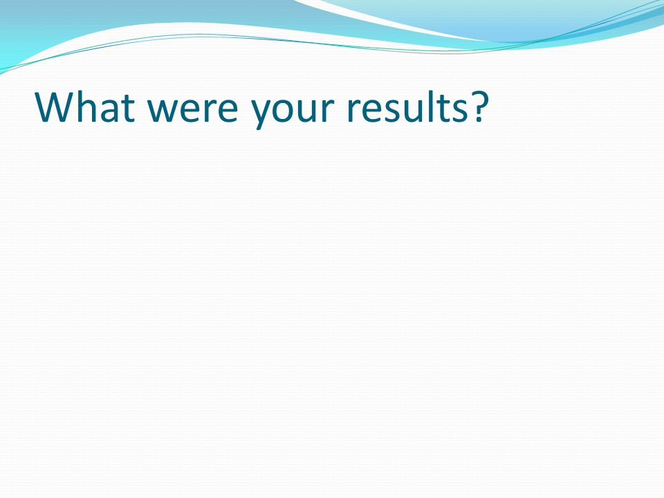 What were your results
