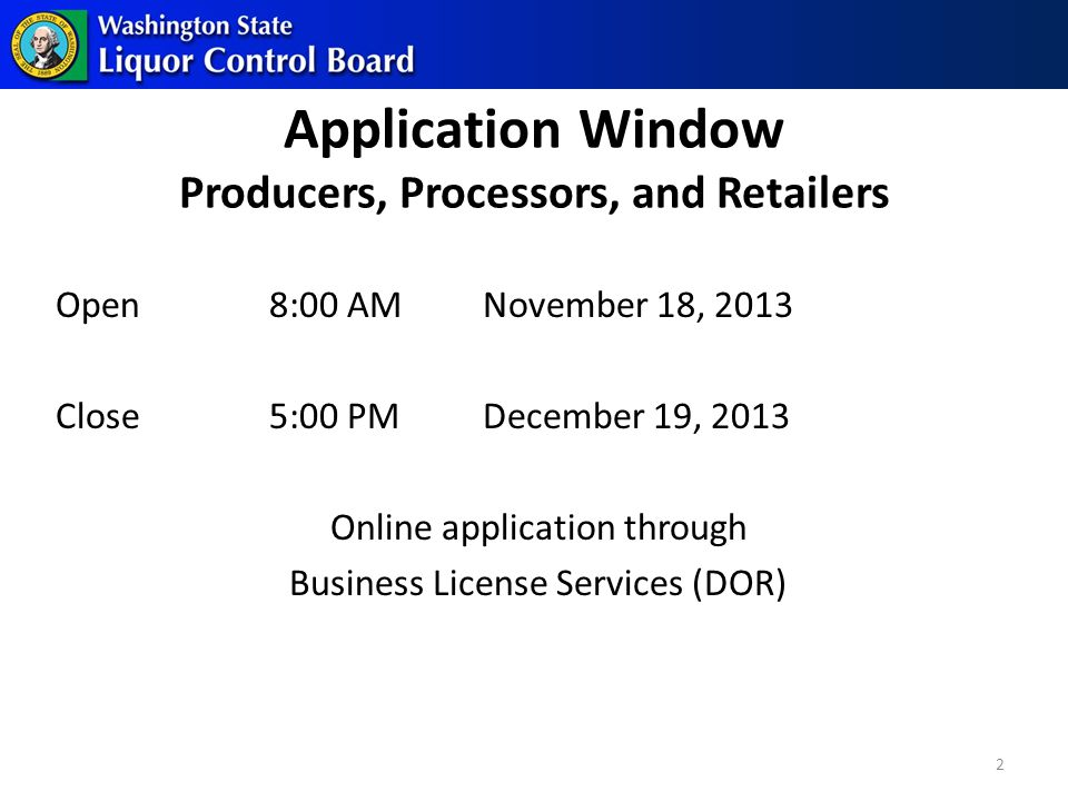 Retail Lottery Protocols Under Development LA Notice and Remaining Application Processing After Lottery Selection 13
