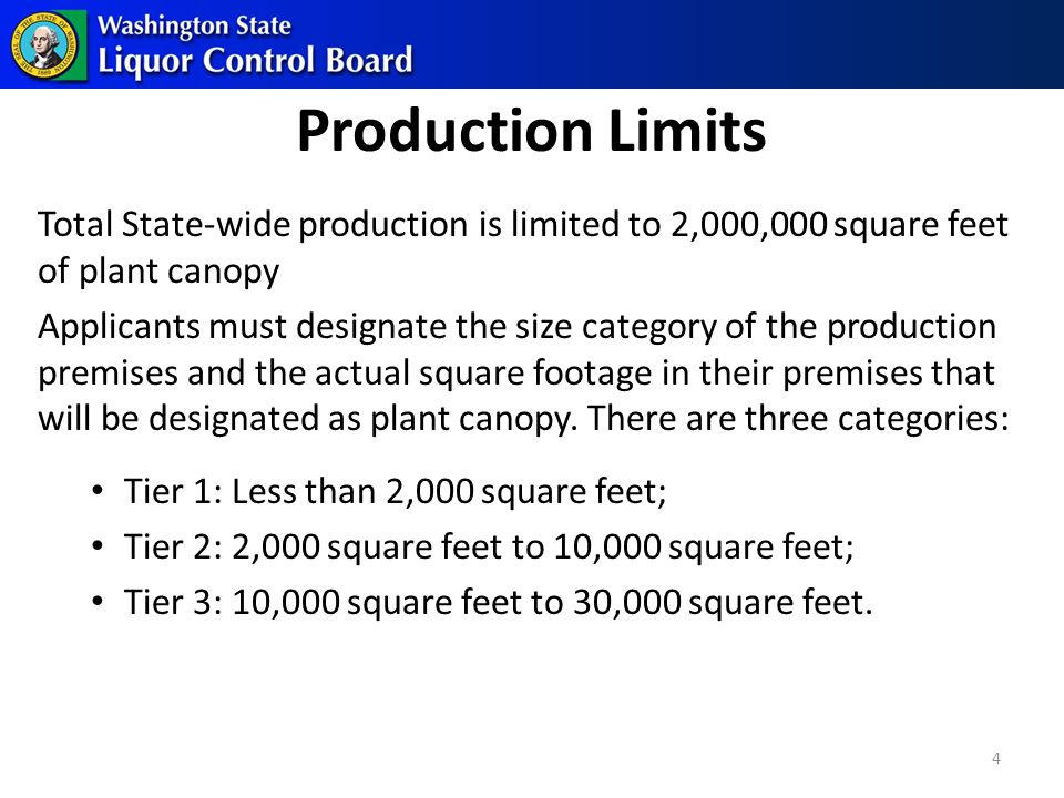 Production Limits Total State-wide production is limited to 2,000,000 square feet of plant canopy Applicants must designate the size category of the production premises and the actual square footage in their premises that will be designated as plant canopy.