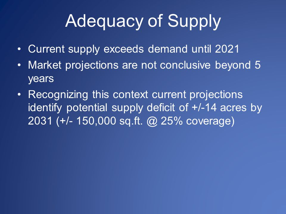 Adequacy of Supply Current supply exceeds demand until 2021 Market projections are not conclusive beyond 5 years Recognizing this context current proj