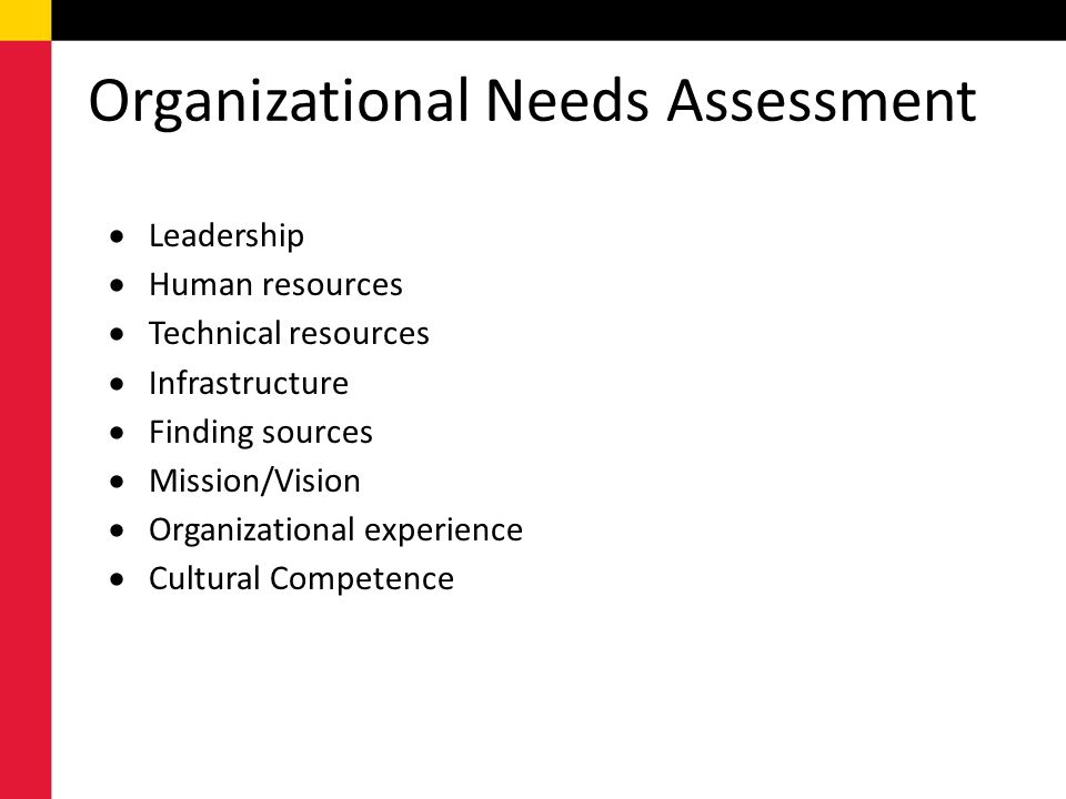 Organizational Needs Assessment  Leadership  Human resources  Technical resources  Infrastructure  Finding sources  Mission/Vision  Organizational experience  Cultural Competence