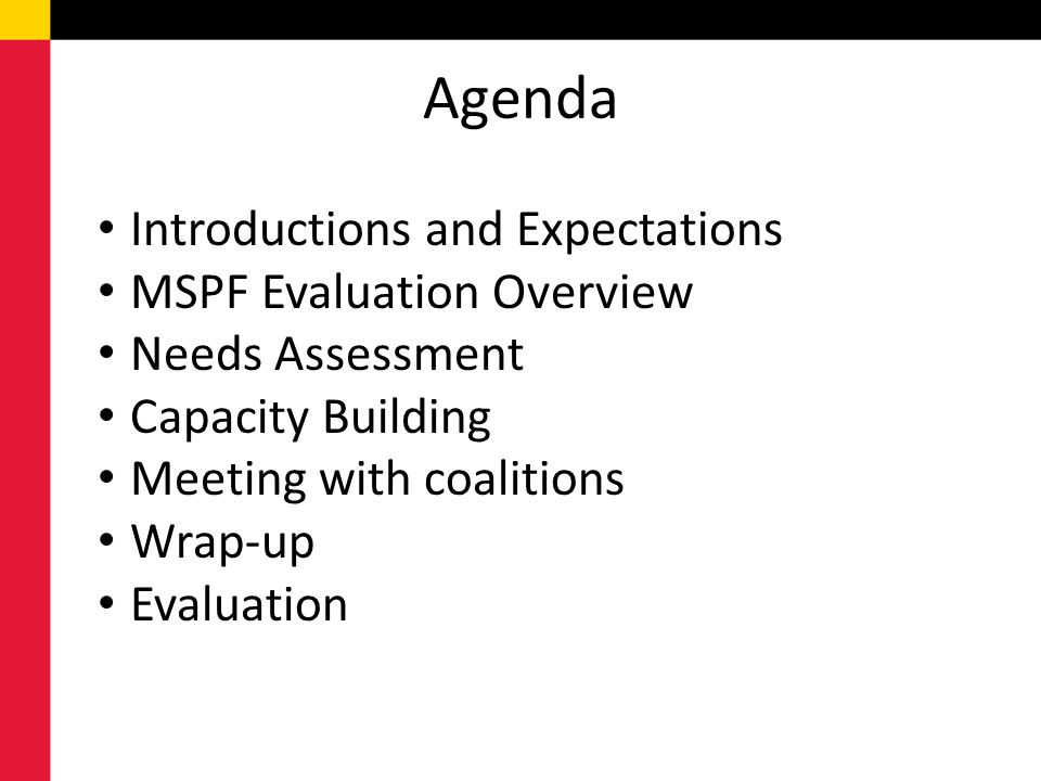 Agenda Introductions and Expectations MSPF Evaluation Overview Needs Assessment Capacity Building Meeting with coalitions Wrap-up Evaluation