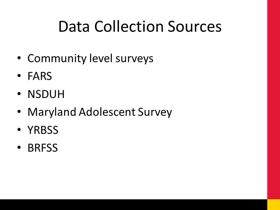 Data Collection Sources Community level surveys FARS NSDUH Maryland Adolescent Survey YRBSS BRFSS