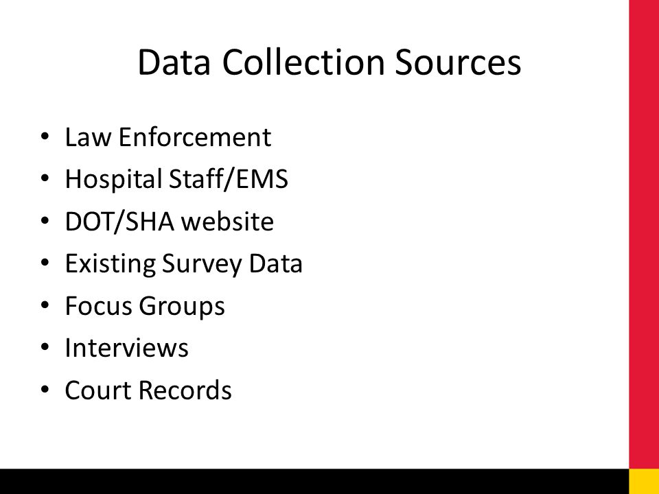 Data Collection Sources Law Enforcement Hospital Staff/EMS DOT/SHA website Existing Survey Data Focus Groups Interviews Court Records