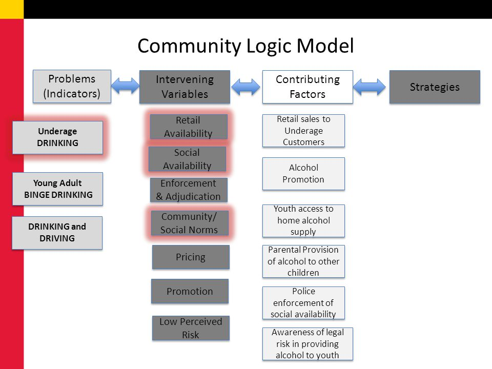 Community Logic Model Problems (Indicators) Intervening Variables Contributing Factors Strategies Underage DRINKING Young Adult BINGE DRINKING Young Adult BINGE DRINKING DRINKING and DRIVING Retail Availability Low Perceived Risk Social Availability Enforcement & Adjudication Community/ Social Norms Pricing Promotion Retail sales to Underage Customers Alcohol Promotion Youth access to home alcohol supply Parental Provision of alcohol to other children Police enforcement of social availability Awareness of legal risk in providing alcohol to youth